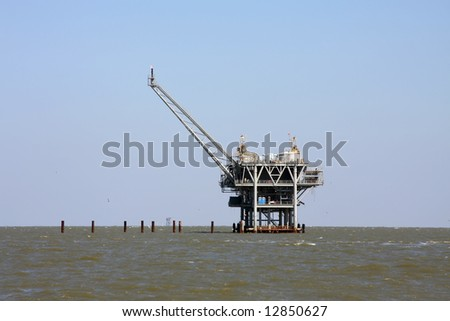 Oil rig in Gulf of Mexico - stock photo