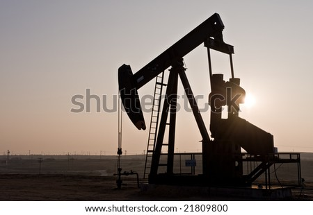 Oil rig in northern California - stock photo