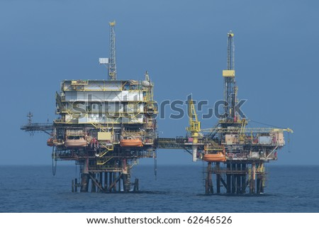oil rig in offshore area.  coast of Brazil. - stock photo