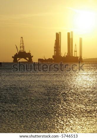 Oil rig in the Caspian Sea near Baku - stock photo