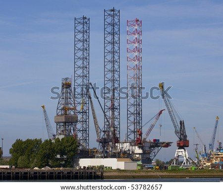 oil rig in the harbour od rotterdam