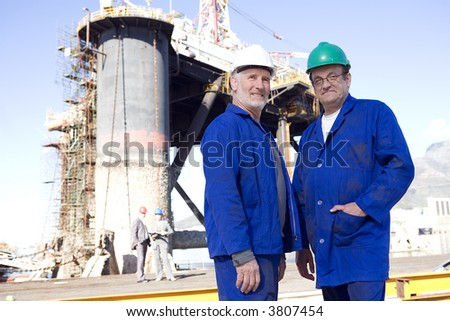 Oil rig inspectors - stock photo