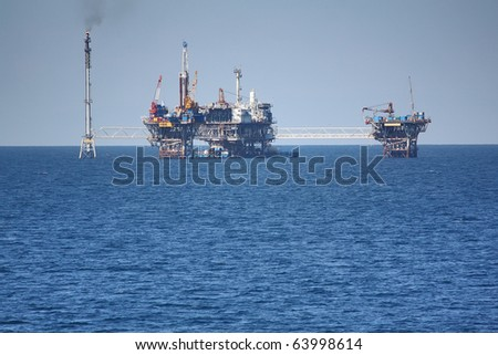 oil rig offshore - stock photo