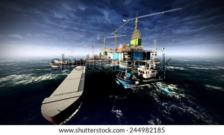 Oil rig  platform at night - stock photo