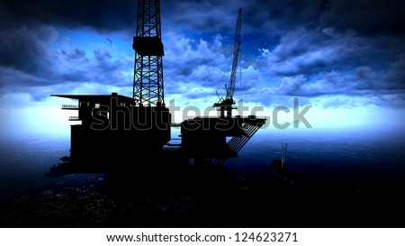 Oil rig  platform in arctic sea - stock photo