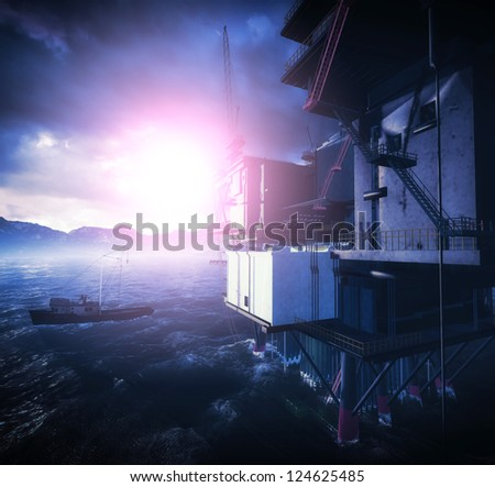 Oil rig  platform in arctic sea - stock photo