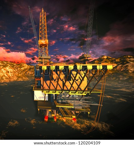 Oil rig  platform with awesome sky - stock photo