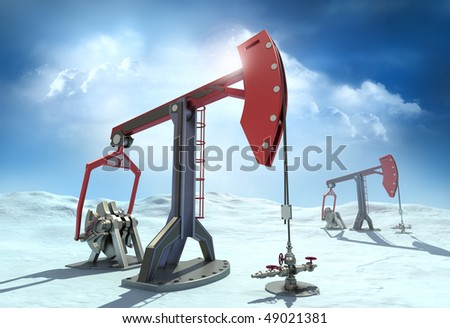Oil Rig : Pump jacks in the north - stock photo