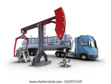 Oil Rig : Pump jacks isolated on white - stock photo