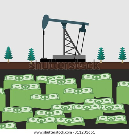Oil rig shakes her money.