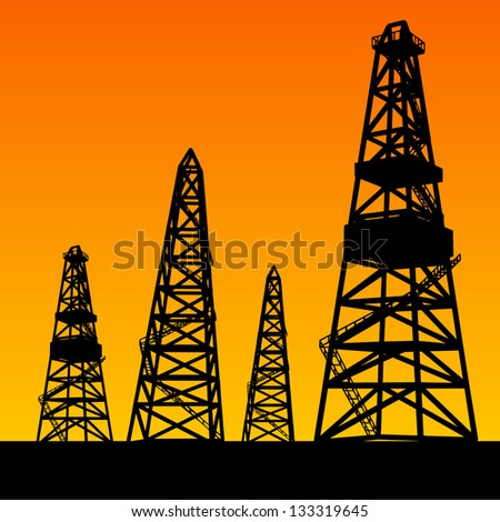 Oil rig silhouettes and orange sky.  Illustration. - stock photo