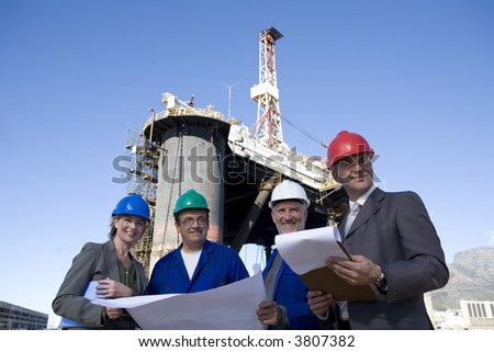 Oil Rig Survey Team - stock photo