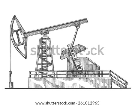 oil rocking, oil pump on a white background. sketch - stock photo