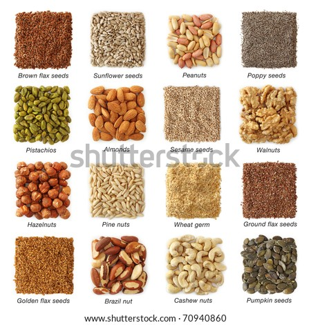 Oil seeds and nuts with titels collection - stock photo