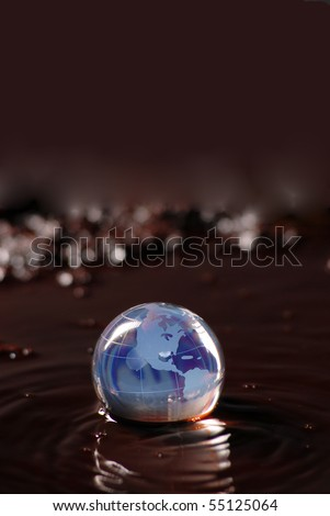 oil spill and earth globe - stock photo