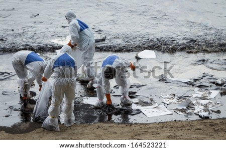 oil spill at koh samet rayong thiailand - stock photo