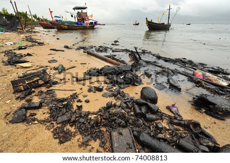 Oil spill. Contaminated Beach.