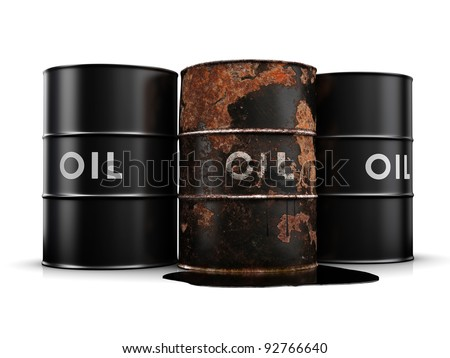 Oil spill due to a rusty, leaking oil drum. - stock photo
