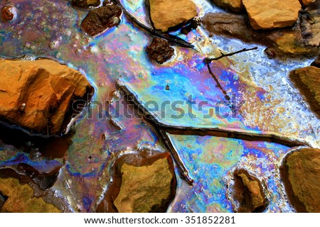 Oil spill - ecological disaster - stock photo