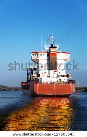 Oil spill from the ship - Image is an artistic digital rendering. - stock photo