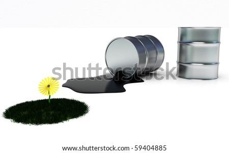 Oil spill in a white background that threat the nature - stock photo