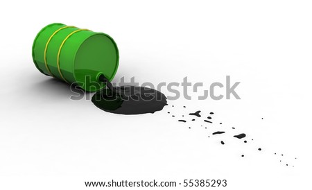 Oil spilling out of a green drum after it's fallen over. - stock photo