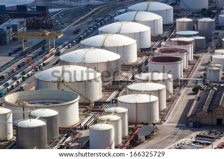 oil storage in the modern port - stock photo