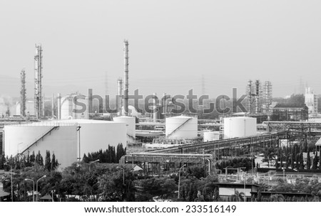 oil storage tank in petrochemical refinery industry plant in petroleum and heavy industrial plant - stock photo