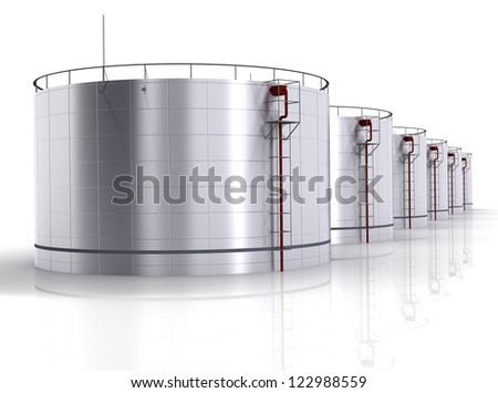 Oil storage tank on a white background - stock photo