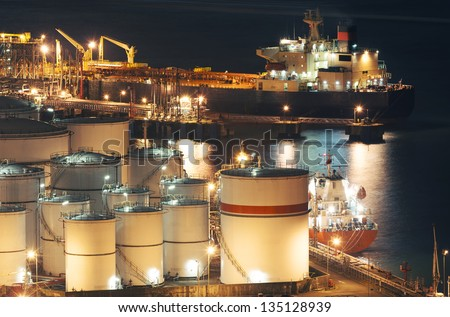 Oil Storage tanks and tanker - stock photo