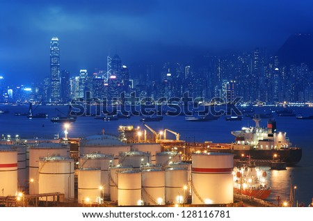Oil Storage tanks with urban background in Hong Kong