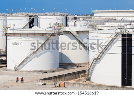 oil tank farm on local of factory - stock photo