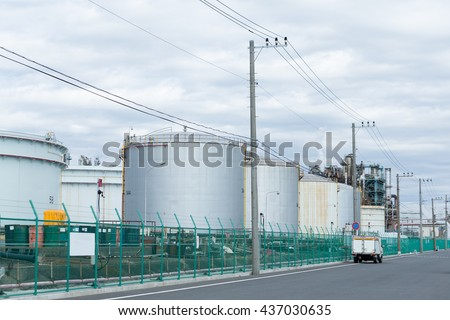 Oil tank in industrial plant - stock photo