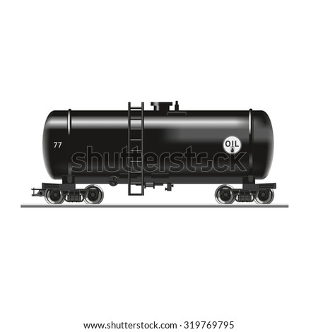 Oil tank.Realistic rail wagon with oil.