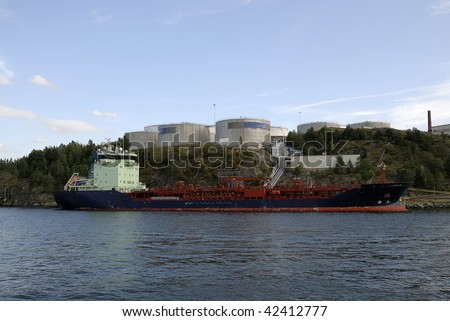 Oil tanker anchored off of Nacka strand coast near the city Stockholm in Sweden.