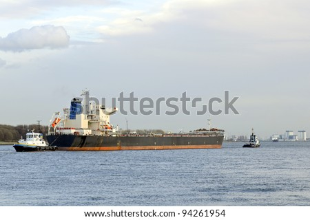 oil tanker and pilot in harbor of rotterdam netherlands