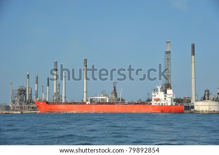 Oil Tanker At  A Refinery - stock photo