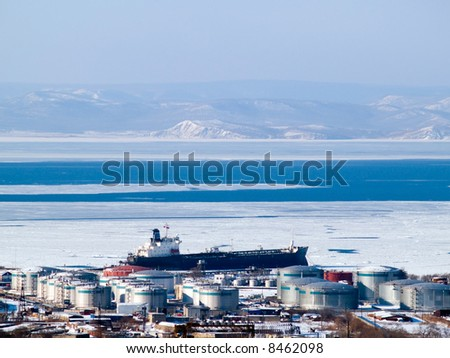 oil tanker at russian petroleum port Vladivostok - stock photo