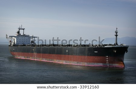 oil tanker at the ocean - stock photo