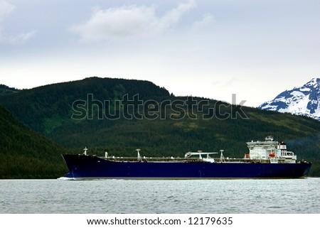 Oil tanker going to refinery near Valdez, Alaska - stock photo