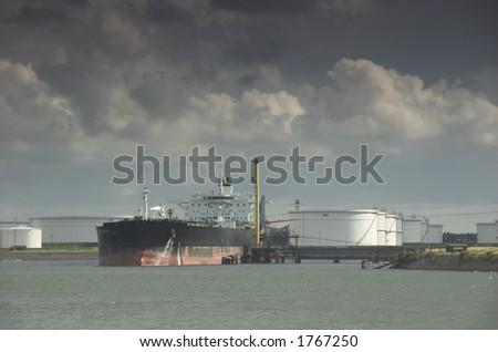 oil tanker in harbor - stock photo