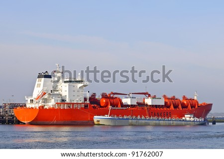 oil tanker in harbor of rotterdam netherlands - stock photo