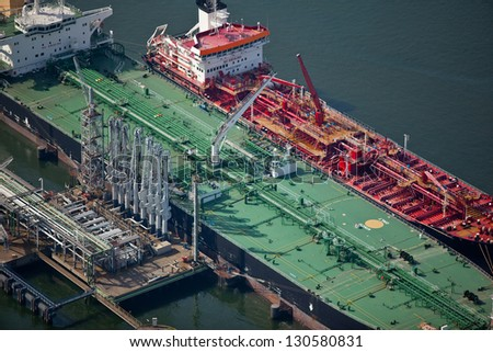 Oil tanker in port - stock photo