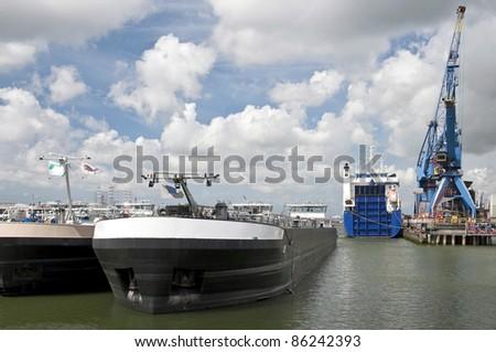 oil tanker in rotterdam harbor - stock photo