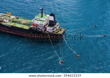 Oil tanker in the gulf of Thailand,blurred - stock photo