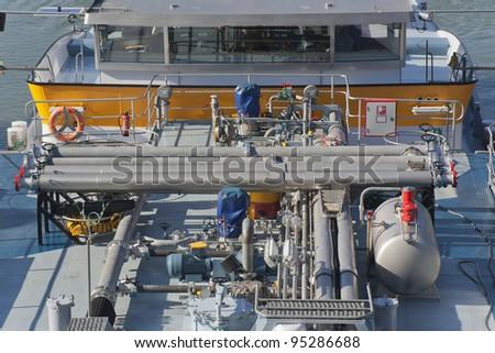 Oil Tanker on canal - Wesel-Datteln-Kanal in Dorsten, Germany - stock photo