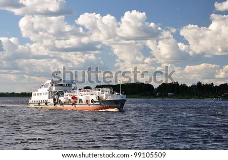 Oil tanker on the Volga. - stock photo