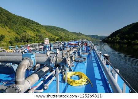 Oil tanker, river Mosel, Germany - stock photo