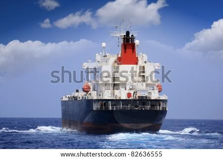 Oil tanker sailing: port side - stock photo