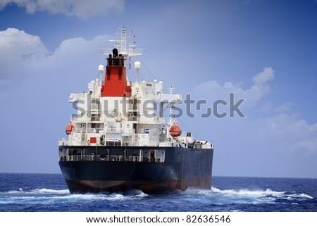 Oil tanker sailing: starboard side - stock photo